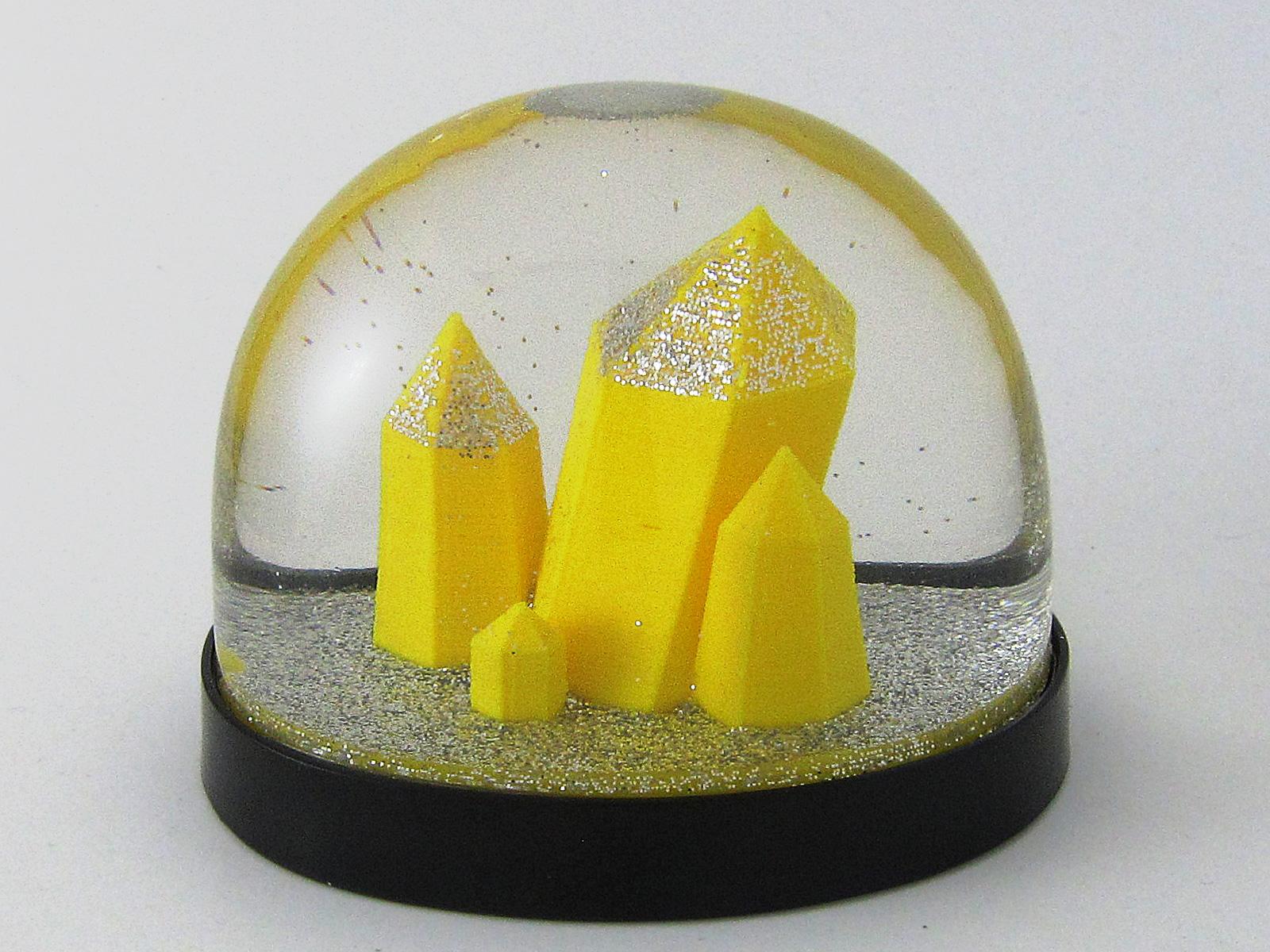 Kristall als Schneekugel, Snowdome- 3D-Druck