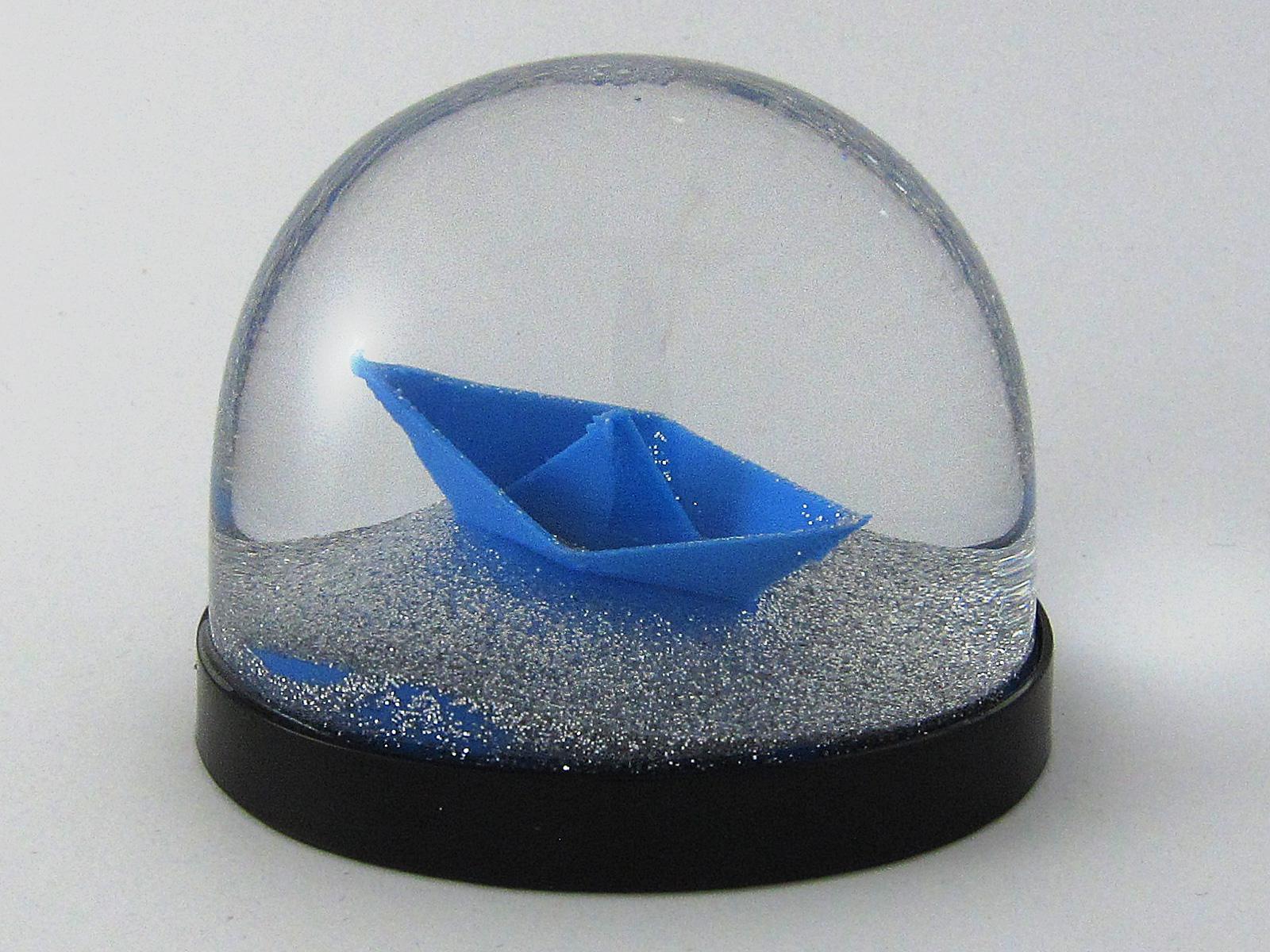 Papierschiff als Schneekugel, Snowdome- 3D-Druck