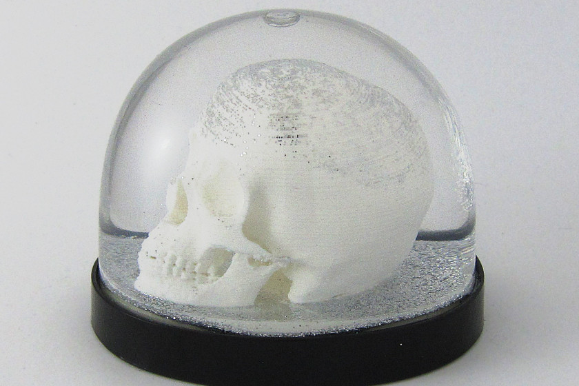 Totenkopf als Schneekugel, Scull Snowdome- 3D-Druck